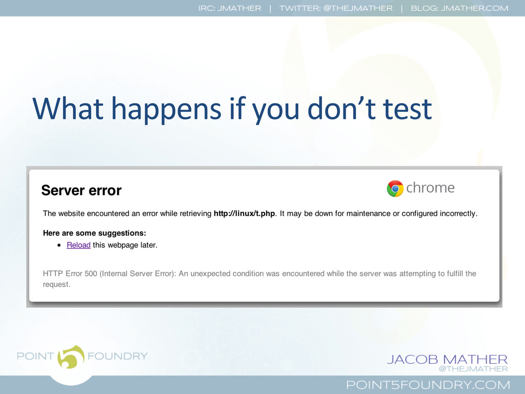 What happens if you don't test...