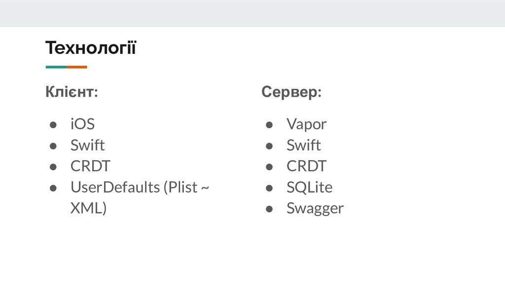 Клієнт: ● iOS ● Swift ● CRDT ● UserDefaults (Pl...