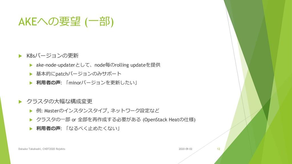 AKEへの要望 (一部)  K8sバージョンの更新  ake-node-updaterとし...