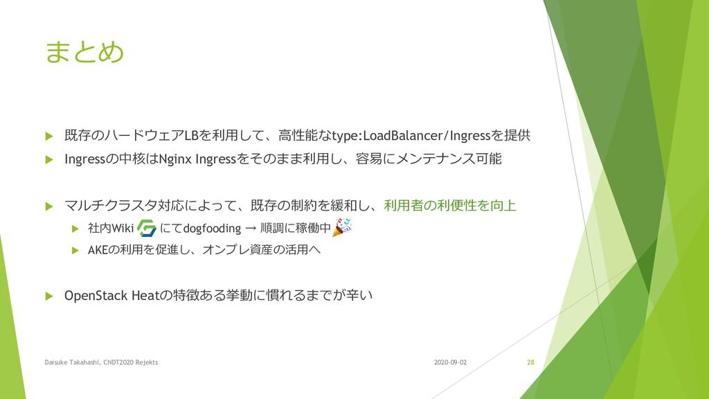 まとめ  既存のハードウェアLBを利用して、高性能なtype:LoadBalancer/In...