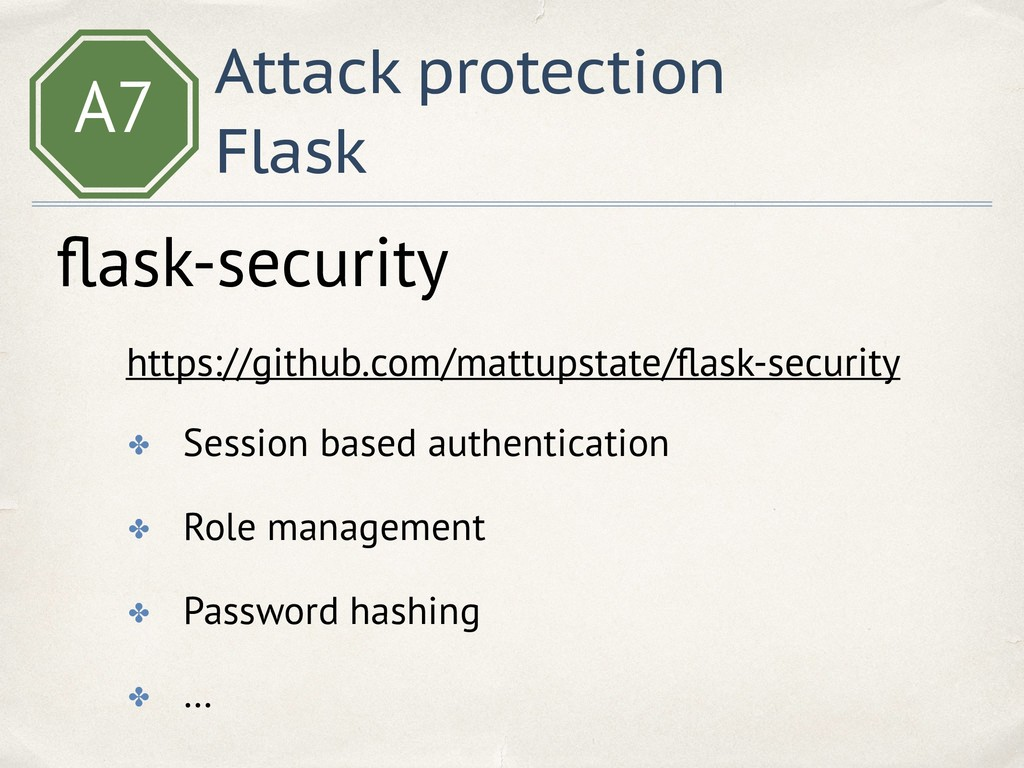 A7 Attack protection Flask flask-security https:...
