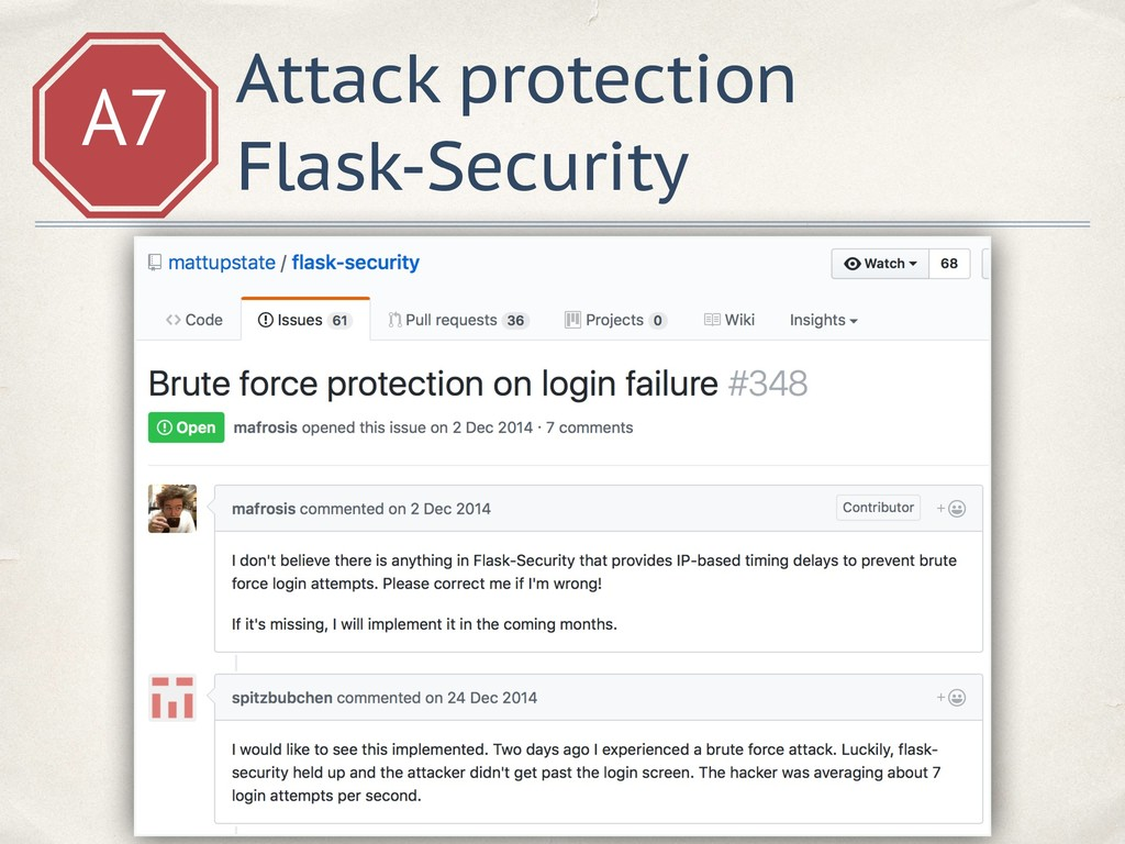 A7 Attack protection Flask-Security