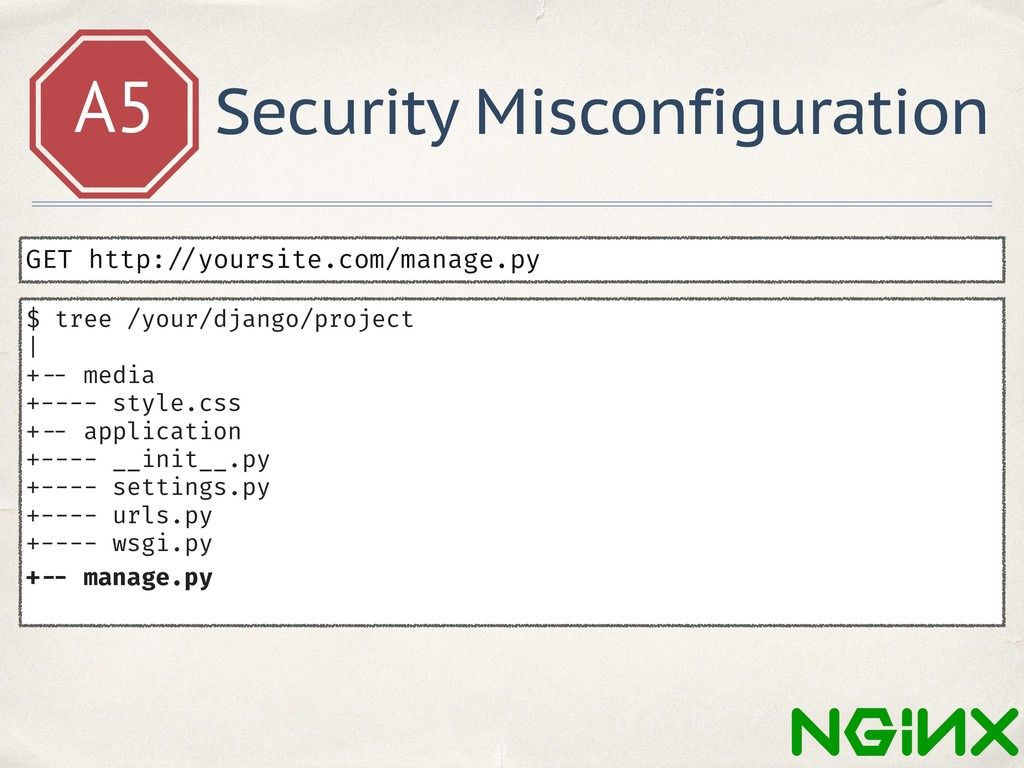 A5 Security Misconfiguration GET http: //yoursi...
