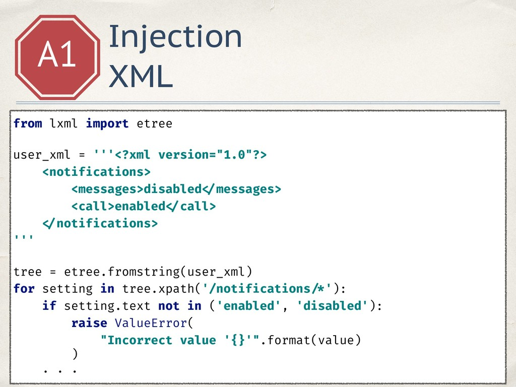 Injection XML A1 from lxml import etree user_x...