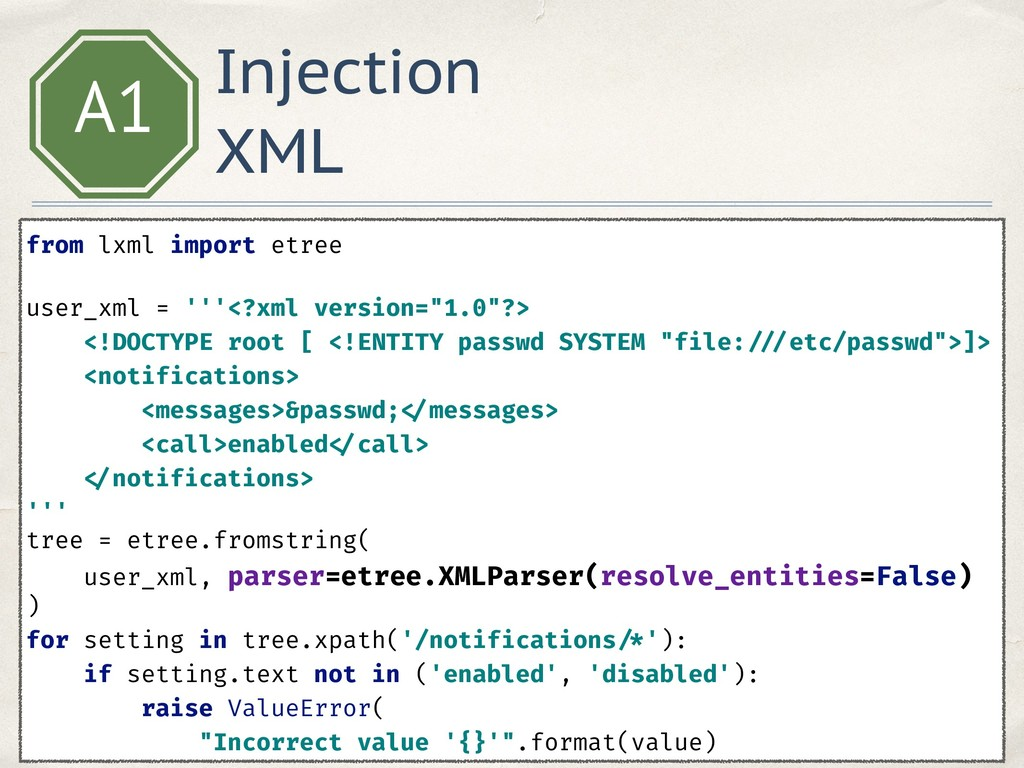 Injection XML A1 from lxml import etree  user...