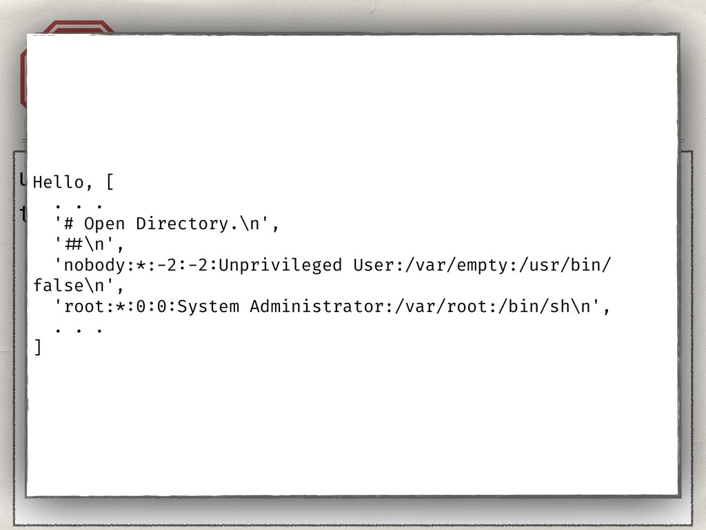 """Injection. Templates. A1 user = """"{{''}}"""" templa..."""
