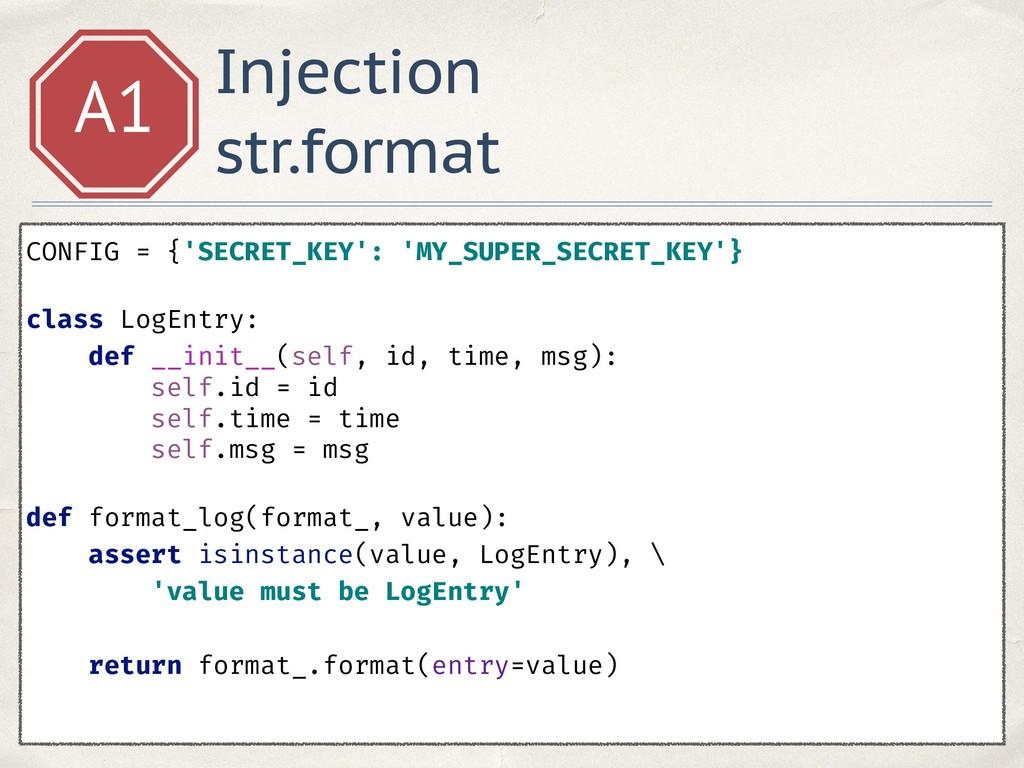 Injection str.format A1 CONFIG = {'SECRET_KEY':...