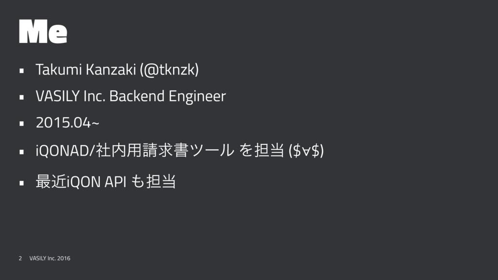 Me • Takumi Kanzaki (@tknzk) • VASILY Inc. Back...
