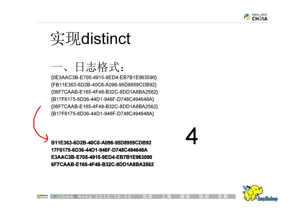 实现distinct 一、日志格式: {0E3AAC3B-E705-4915-9ED4-EB7...