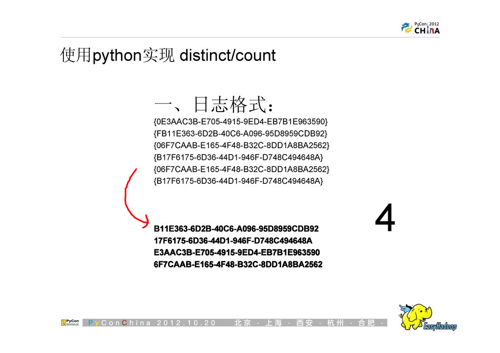 使用python实现 distinct/count 一、日志格式: {0E3AAC3B-E70...