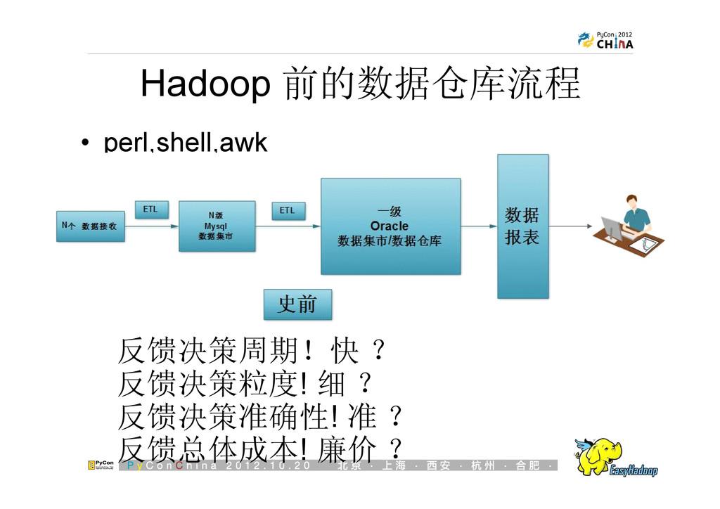 Hadoop 前的数据仓库流程 反馈决策周期!快 ? 反馈决策粒度! 细 ? 反馈决策准确性!...