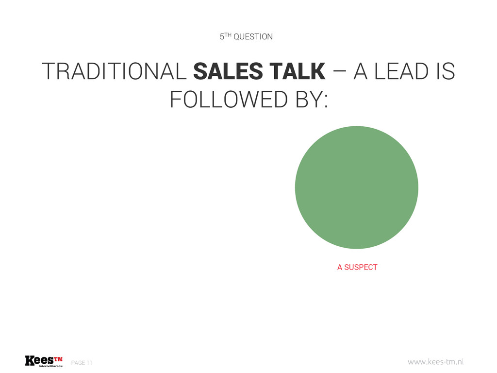 TRADITIONAL SALES TALK – A LEAD IS FOLLOWED BY:...