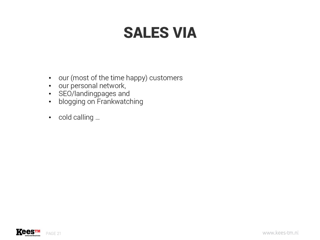 SALES VIA PAGE 21 • our (most of the time happy...