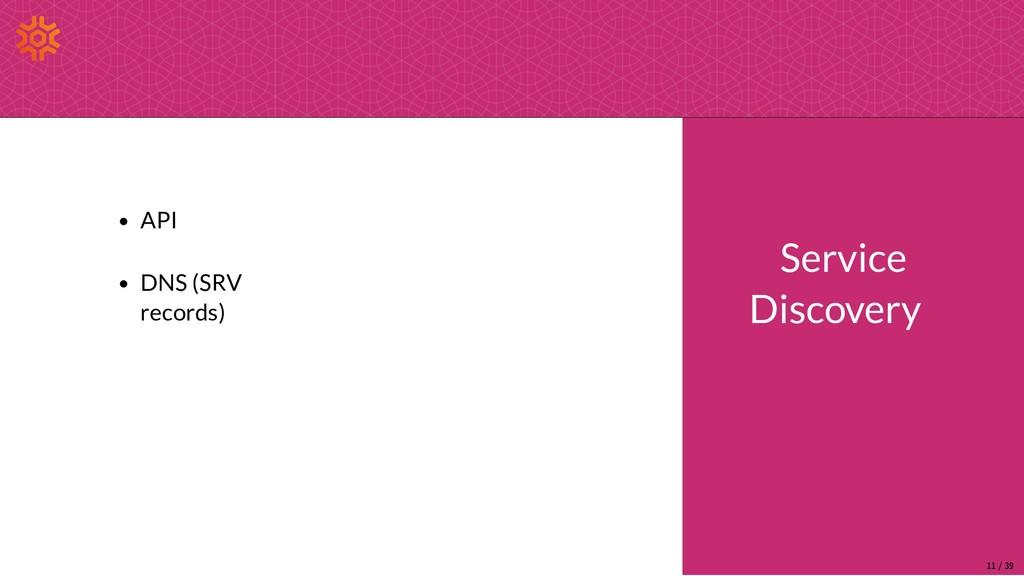 API DNS (SRV records) Service Discovery 11/39