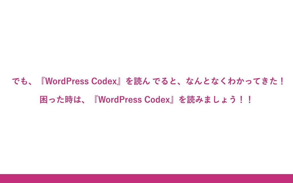 ご静聴ありがとうございました! でも、『WordPress Codex』 を読んでると、なんと...