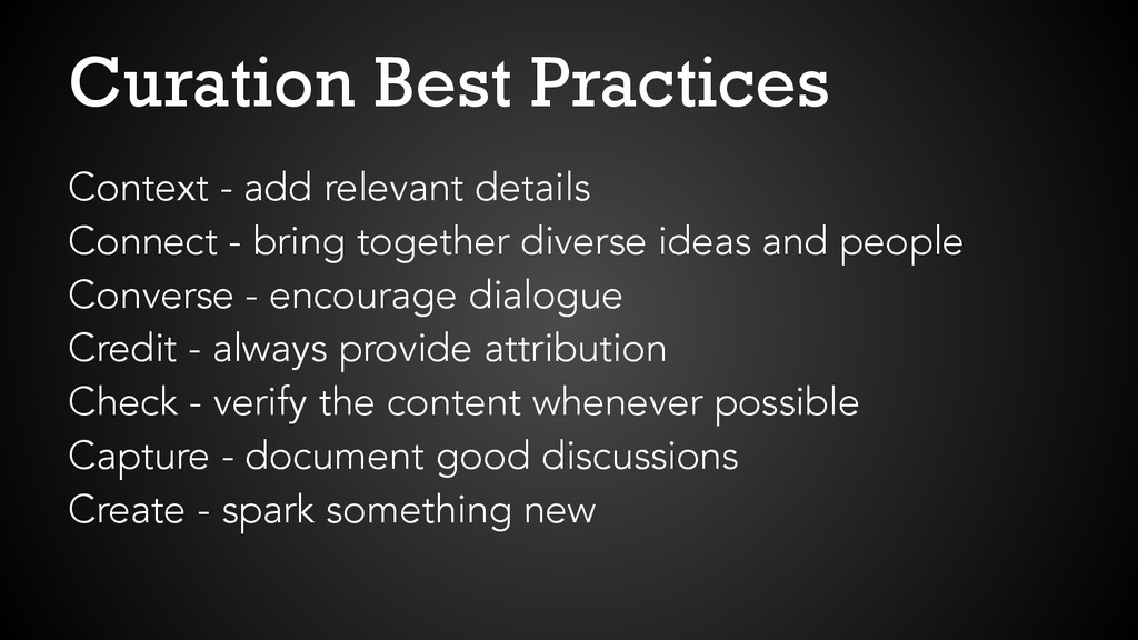 Curation Best Practices Context - add relevant ...