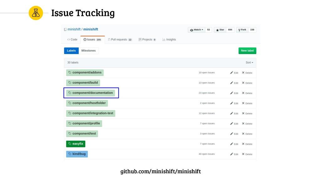 Issue Tracking github.com/minishift/minishift