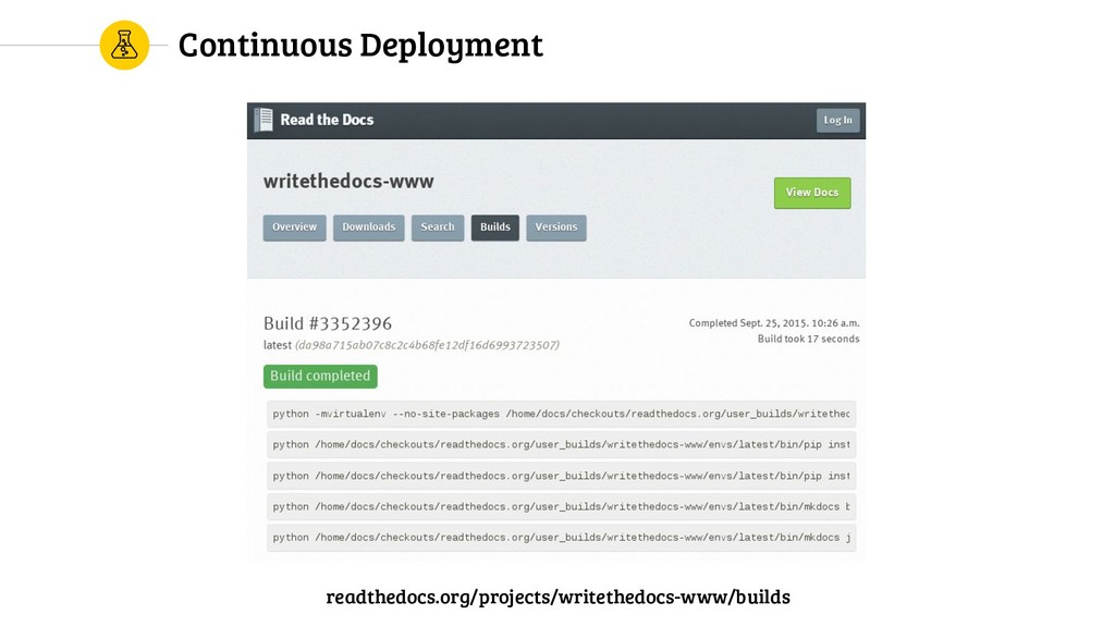 Continuous Deployment readthedocs.org/projects/...