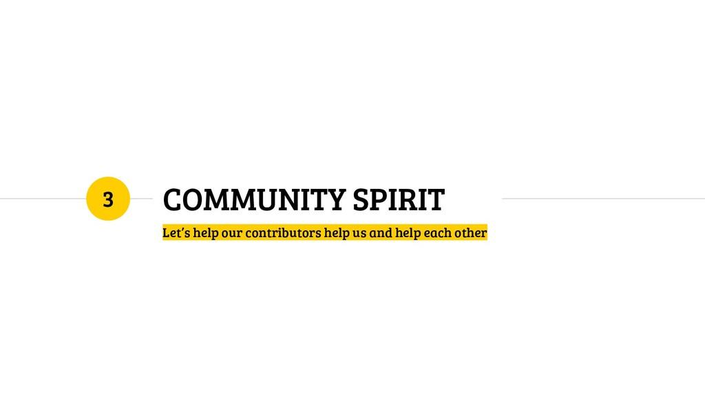 COMMUNITY SPIRIT Let's help our contributors he...