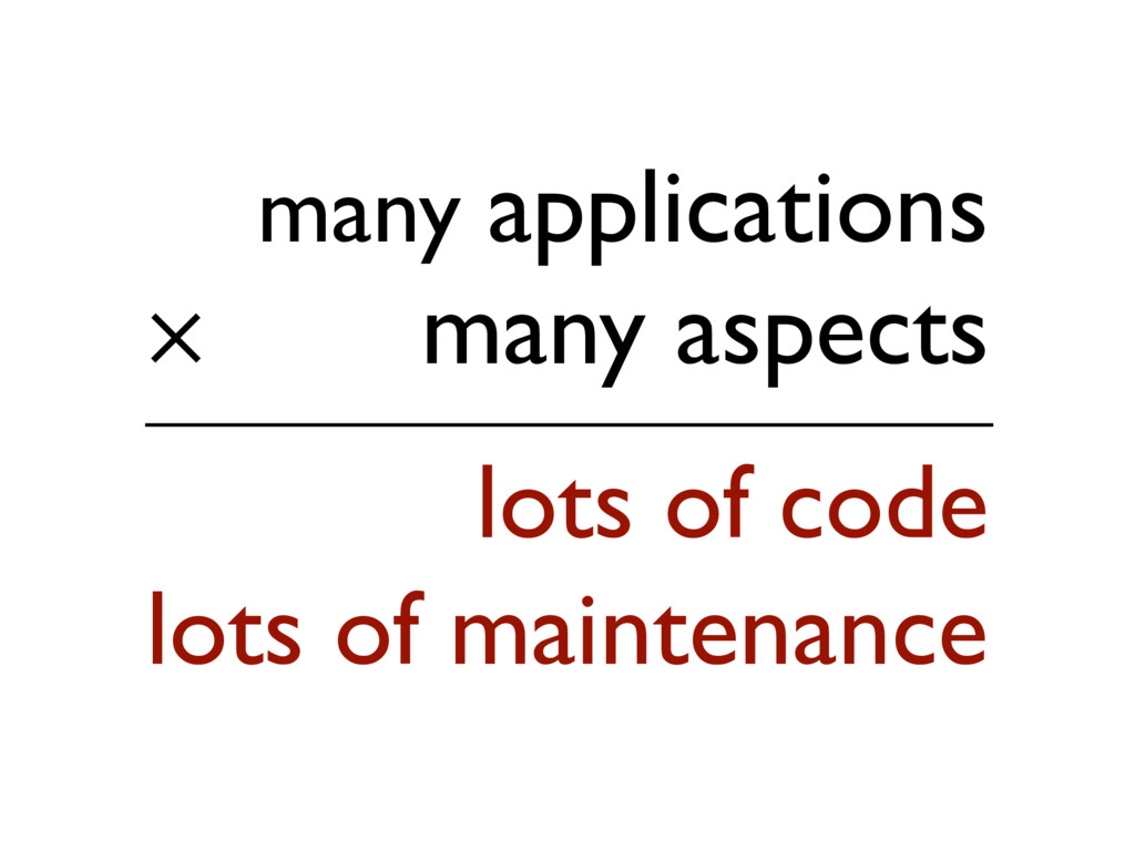 many applications many aspects lots of code ✕ l...