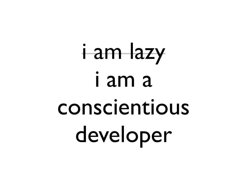 i am lazy i am a conscientious developer