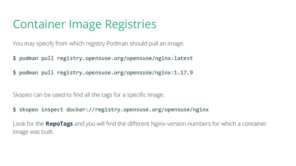 Container Image Registries You may specify from...
