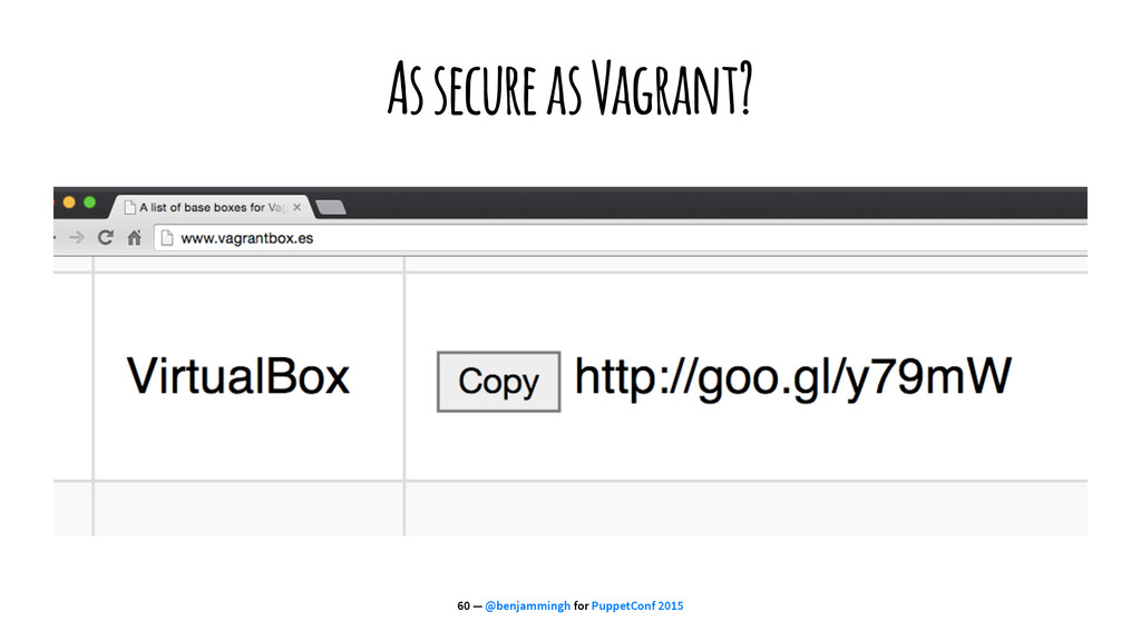 As secure as Vagrant? 60 — @benjammingh for Pup...