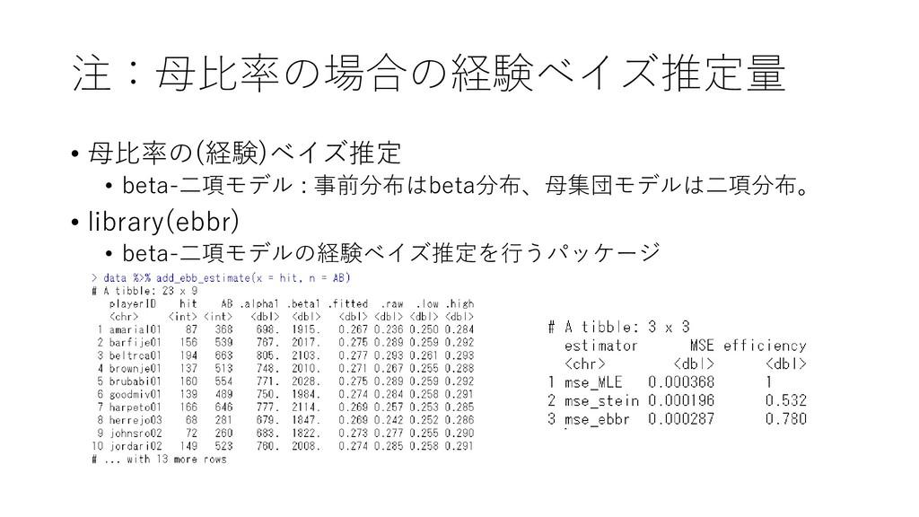 注:母比率の場合の経験ベイズ推定量 • 母比率の(経験)ベイズ推定 • beta-二項モデル ...