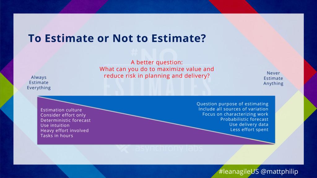 To Estimate or Not to Estimate? Never Estimate ...