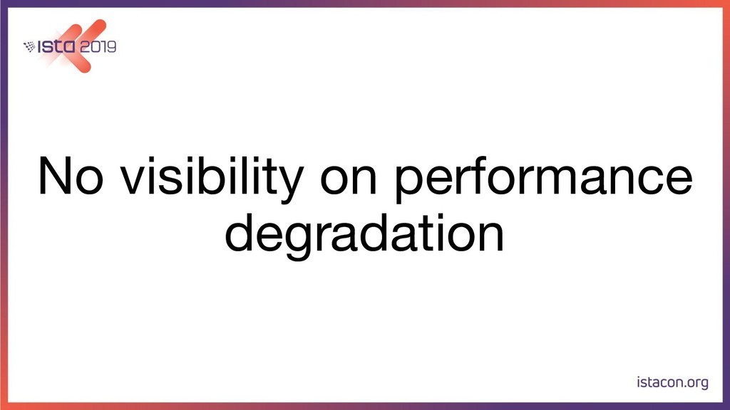 No visibility on performance degradation