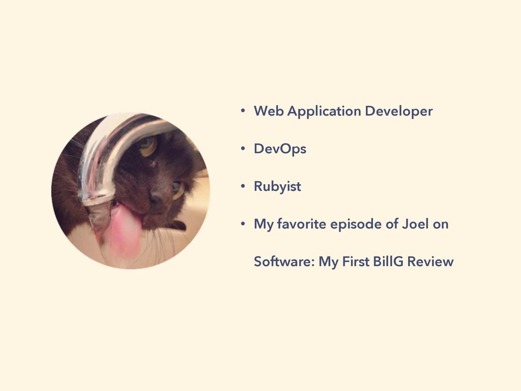 • Web Application Developer • DevOps • Rubyist ...