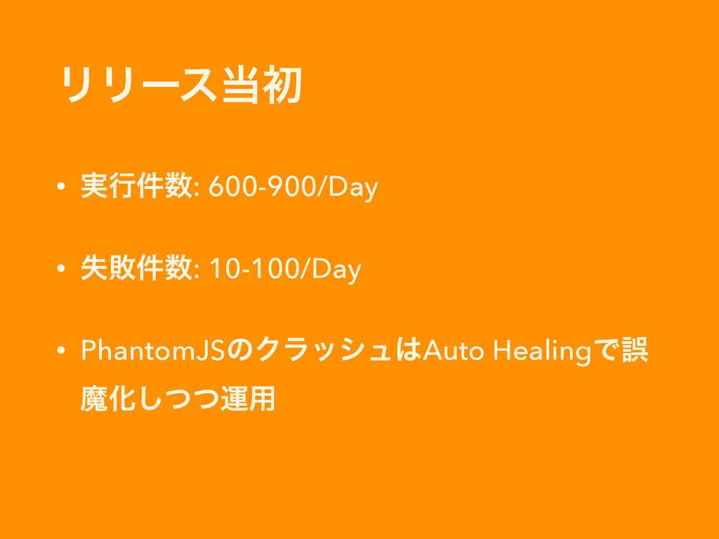 ϦϦʔεॳ • ࣮ߦ݅: 600-900/Day • ࣦഊ݅: 10-100/Day •...