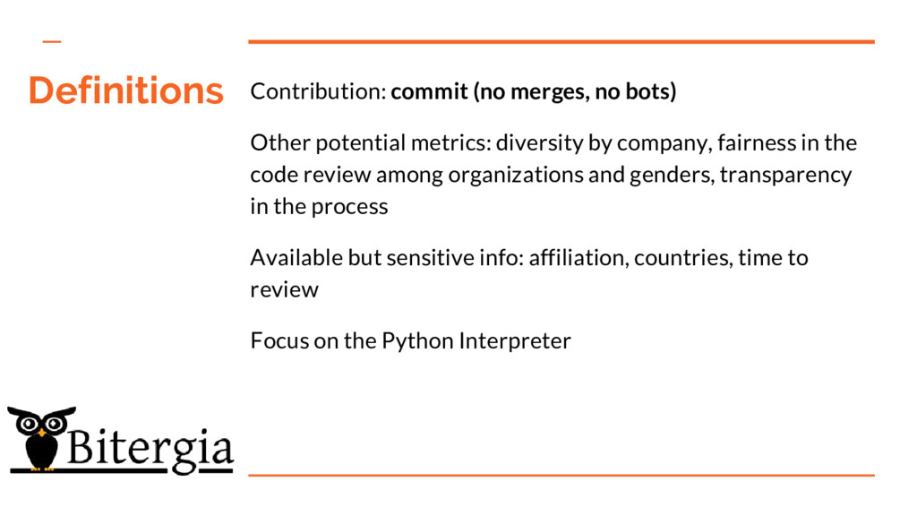 Definitions Contribution: commit (no merges, no...