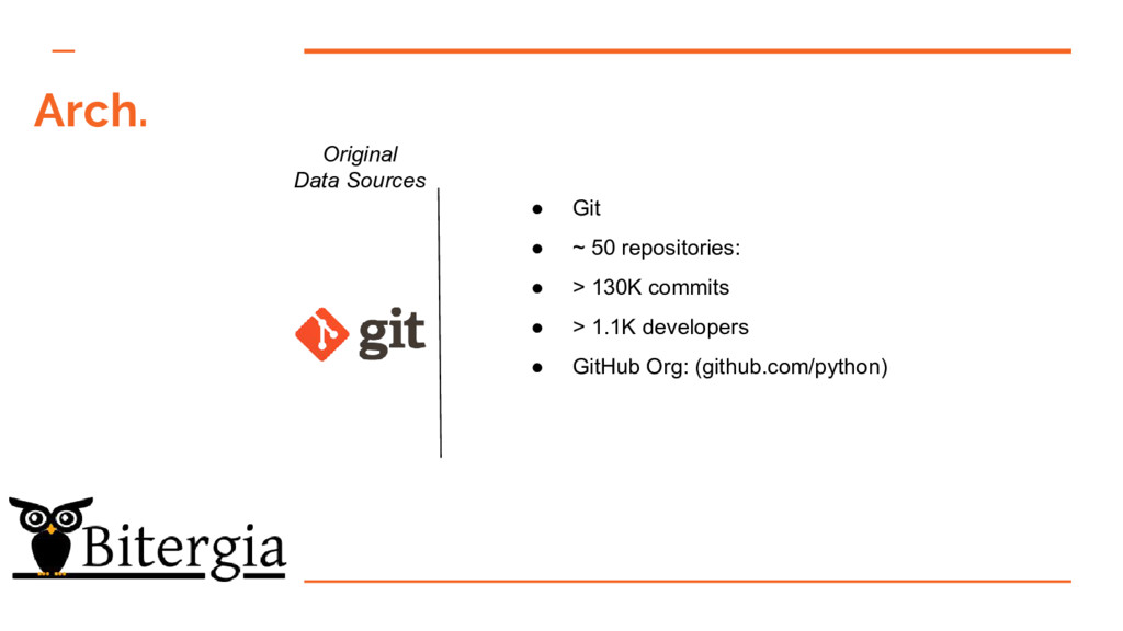 Arch. Original Data Sources ● Git ● ~ 50 reposi...