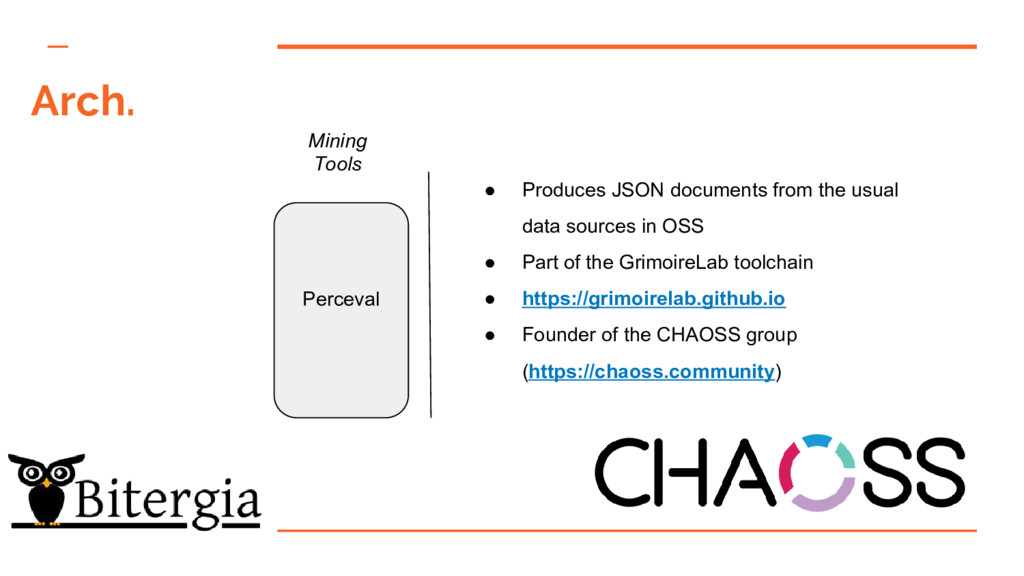 Arch. Mining Tools Perceval ● Produces JSON doc...