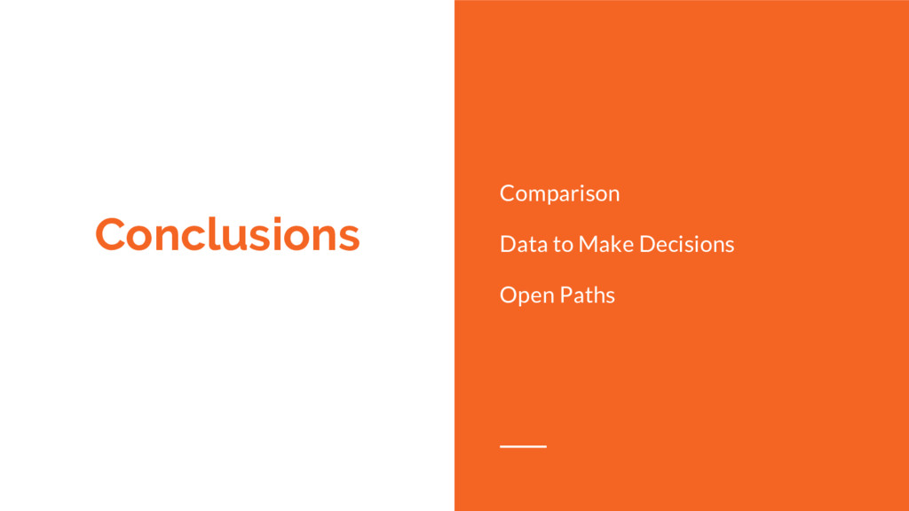 Conclusions Comparison Data to Make Decisions O...