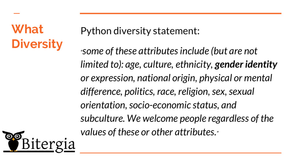 "What Diversity Python diversity statement: "" so..."