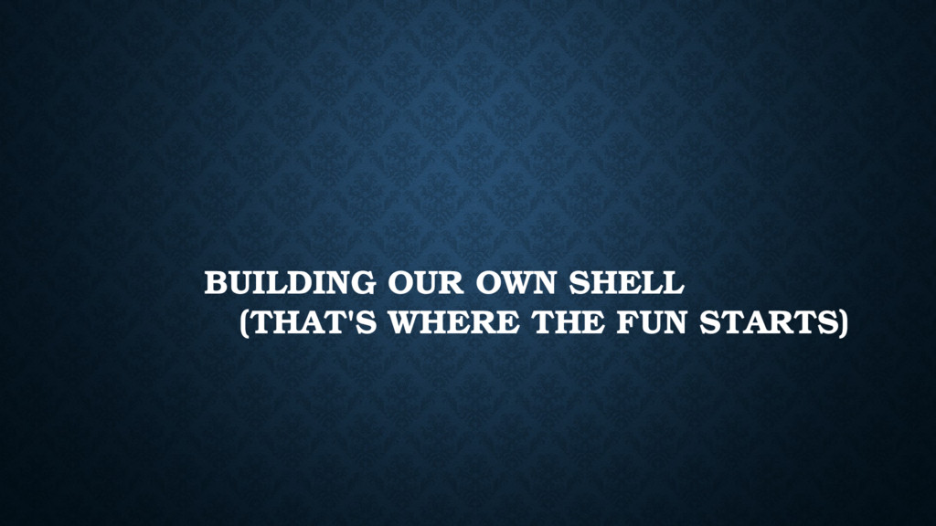 BUILDING OUR OWN SHELL (THAT'S WHERE THE FUN ST...