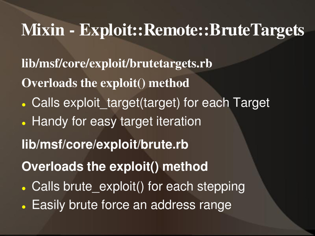 Mixin - Exploit::Remote::BruteTargets lib/msf/c...