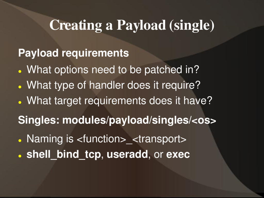 Creating a Payload (single) Payload requirement...