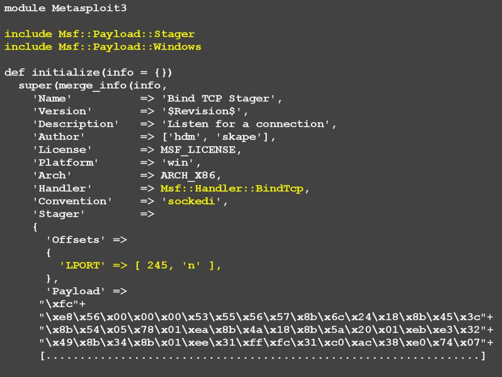 module Metasploit3 include Msf::Payload::Stager...