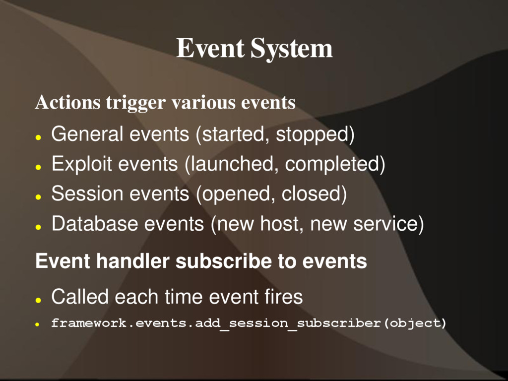 Event System Actions trigger various events  G...