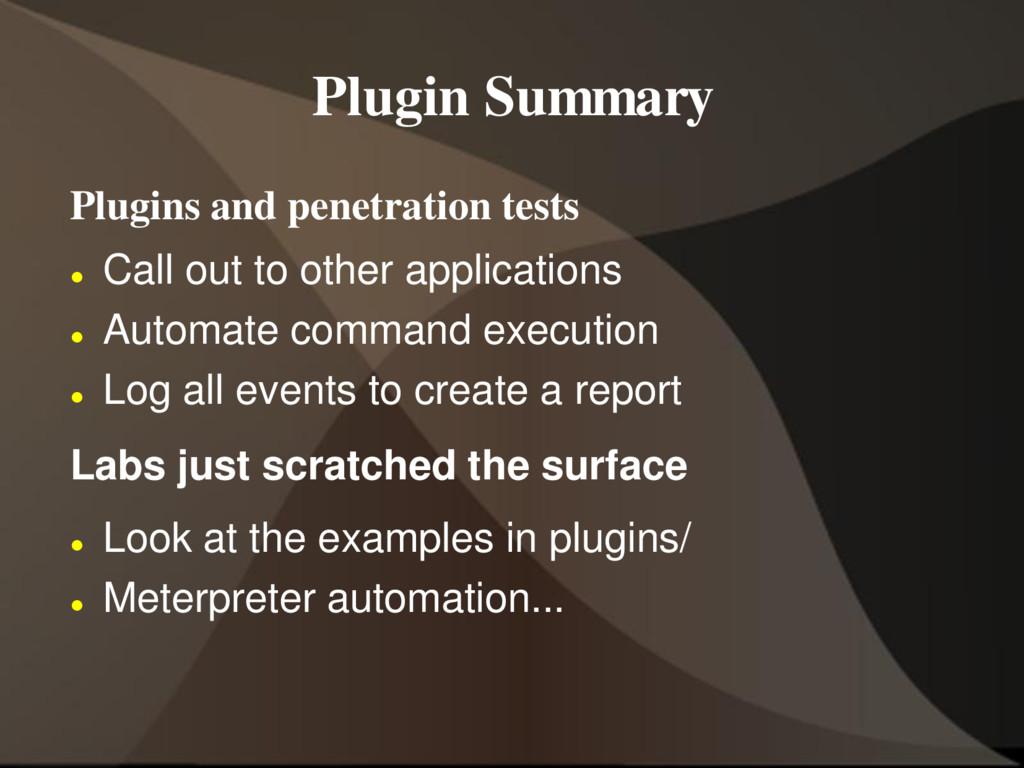 Plugin Summary Plugins and penetration tests  ...