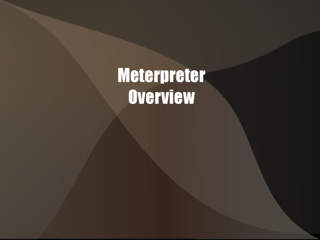 Meterpreter Overview