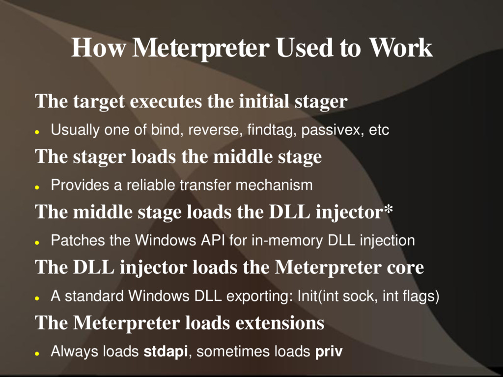 How Meterpreter Used to Work The target execute...