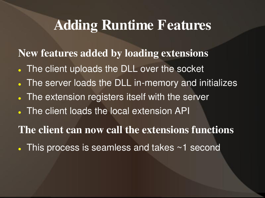 Adding Runtime Features New features added by l...