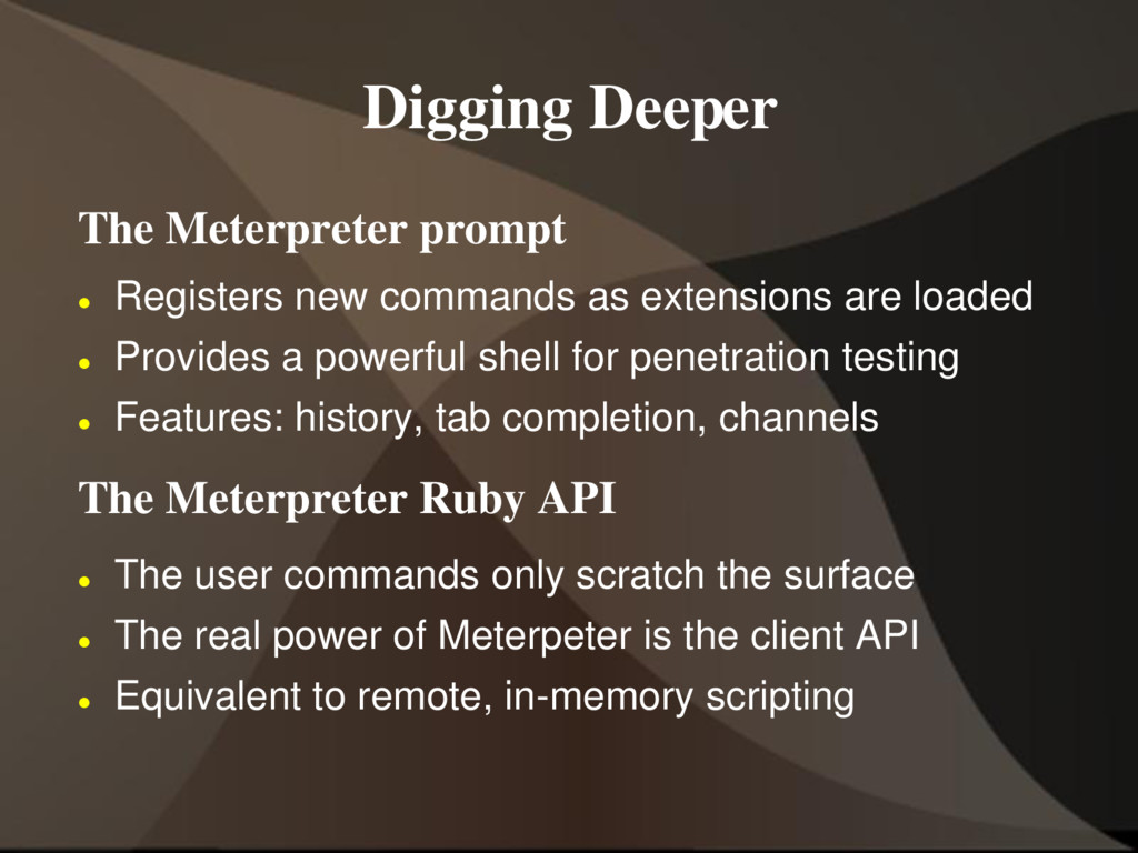 Digging Deeper The Meterpreter prompt  Registe...