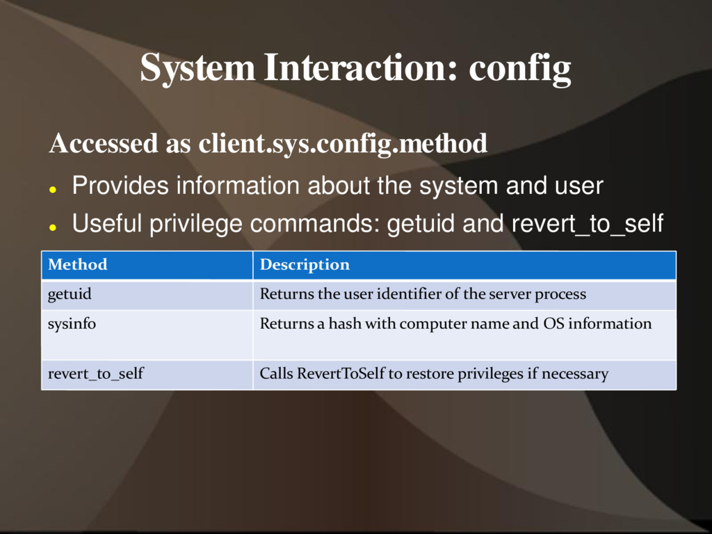 System Interaction: config Accessed as client.s...